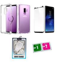 Kit Capa Reforçada Galaxy S9 + Pel. Cola Tudo + Carreg Turbo - Yellow Cell