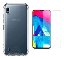 Kit Capa Samsung Galaxy A10 / M10 Rígida Anti Impacto + Película - Transparente Com Bordas Antishock - Hrebos