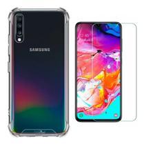Kit Capa Samsung Galaxy A50 / A30s Rígida Anti Impacto + Película - Transparente Bordas Antishock - Hrebos