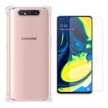 Kit Capa Samsung Galaxy A80 Rígida Anti Impacto + Película - Transparente com Bordas Antishock - Hrebos