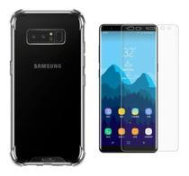 Kit Capa Samsung Galaxy Note 8 Rígida Anti Impacto + Película 3D - Transparente Com Bordas Antishock - Atouchbo
