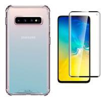 Kit Capa Samsung Galaxy S10 Rígida Anti Impacto + Película 3D - Transparente Com Bordas Antishock - Atouchbo