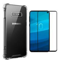 Kit Capa Samsung Galaxy S10e Rígida Anti Impacto + Película 3D - Transparente Com Bordas Antishock - Atouchbo