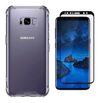 Kit Capa Samsung Galaxy S8 Rígida Anti Impacto + Película 3D - Transparente Com Bordas Antishock - ATOUCHBO