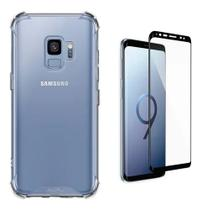 Kit Capa Samsung Galaxy S9 Rígida Anti Impacto + Película 3D - Transparente Com Bordas Antishock - Atouchbo