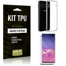 Kit Capa Silicone Galaxy S10 Plus Capa de Silicone + Película de Gel - Armyshield -