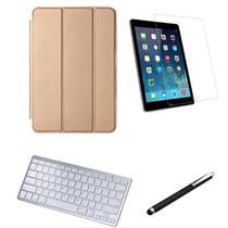 Kit Capa Smart Case iPad 7a Geração 10.2 /Can/Pel e Teclado Branco - Dourado - Global Cases
