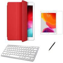 Kit Capa Smart Case iPad 8a Geração 10.2 /Can/Pel e Teclado Branco - Vermelho - Global Cases