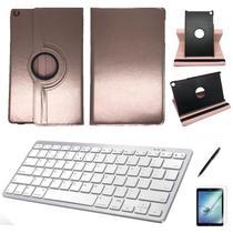 Kit Capa/Teclado branco /Can/Pel Galaxy Tab A T510/T515 10.1 Rose - Bd Cases