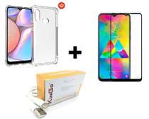 Kit Capa transparente Anti Impacto P/ Galaxy A20s + Película de Vidro 3D + Cabo de Dados Usb C Kingo 2 Metros -