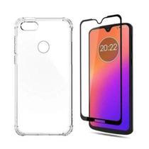 Kit Capa Transparente Bordas Anti Queda Moto E6 Play + 2 Películas 3D - Motorola