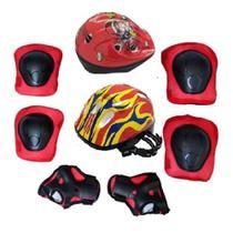 Kit capacete joelheira e cotoveleira infantil protecao skate bike patins menina menino - MAKEDA