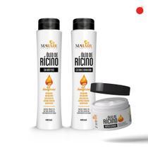 Kit Capilar Oleo de Ricino - Mahair - Shampoo + Condicionador + Máscara -