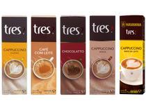 Kit Cápsulas de Capuccino Chá e Café com Leite - TRES 3 Corações 10 Cápsulas 5 Unidades