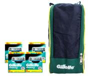 Kit Carga Gillette Mach3 Com 32 Unidades + Porta Chuteira -