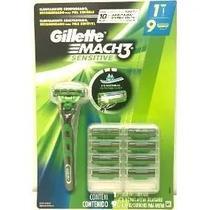 Kit Carga Gillette Mach3 Sensitive 9 Cartuchos e Barbeador -