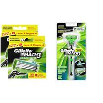 Kit Carga Gillette Mach3 Sensitive com 16 unidades + 1 Aparelho de Barbear Gillette Mach3 Sensitive -