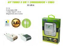 Kit Carregador 2 USB + Cabo Type C 2.4A X-Cell XC-TIPOC-UR6 -