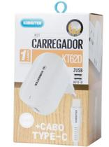 Kit carregador 2 USB + cabo Type-C - Branco -  KT620 - Kimaster