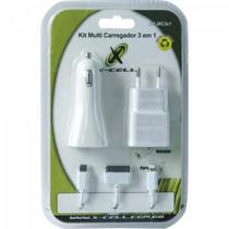 Kit Carregador 3 em 1 Micro USB/Lightning/Doc XC-MC3X1 Branc - Xcell