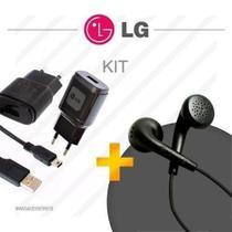 Kit Carregador Lg Fone De Ouvido Para Celular Lg -