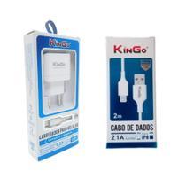 Kit Carregador Lightning Kingo + Cabo USB 2m para iPhone XR -
