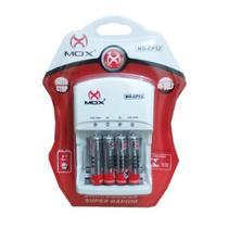 Kit Carregador Mox + 4 Pilhas Recarregáveis Mox Aaa 1000 Mah -