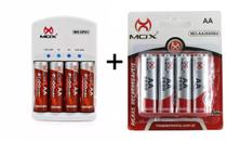 Kit Carregador Mox + 8 Pilhas Recarregáveis Mox Aa 2600 Mah. -