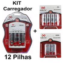 Kit Carregador Pilhas Auto Stop 8 Aa + 4 Palito 1000Mah Mox -