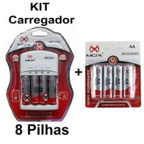 Kit Carregador Pilhas Mox 4 Pilhas 2600Mah Total 8 Pilhas AA -