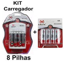 Kit Carregador Pilhas Mox 8 Pilhas Recarregavéis AA 2600Mah -