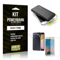 Kit Carregador Portátil 10K Galaxy J7 Prime Powerbank + Capa + Película de Vidro - Armyshield -
