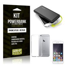 Kit Carregador Portátil 10K iPhone 6 Plus/6S Plus Powerbank + Capa + Película de Vidro - Armyshield -