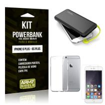 Kit Carregador Portátil 10K iPhone 6 Plus/6S Plus Powerbank + Capa + Película de Vidro - Armyshield