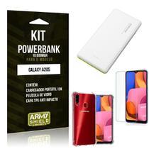Kit Carregador Portátil 10K Tipo C Galaxy A20S + Capa Anti Impacto +Película Vidro - Armyshield -
