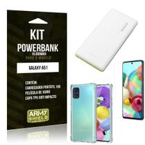 Kit Carregador Portátil 10K Tipo C Galaxy A51 + Capa Anti Impacto +Película Vidro - Armyshield -