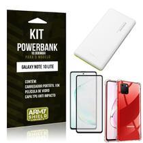 Kit Carregador Portátil 10K Tipo C Galaxy Note 10 Lite +Capa Anti Impacto +Película 3D -Armyshield -