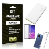 Kit Carregador Portátil 10K Tipo C Galaxy S10 Lite +Capa Anti Impacto +Película Vidro 3D -Armyshield -