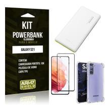Kit Carregador Portátil 10K Tipo C Galaxy S21 +Capa Anti Impacto +Película Vidro 3D -Armyshield -