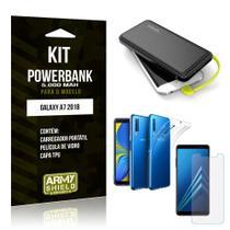 Kit Carregador Portátil 5K Galaxy A7 2018 Powerbank 5000mah + Capa + Película de Vidro - Armyshield -