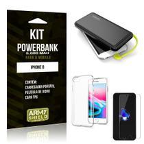 Kit Carregador Portátil 5K iPhone 8 Powerbank 5000mah + Capa + Película de Vidro - Armyshield -