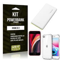 Kit Carregador Portátil 5K iPhone SE 2020 + Capa Anti Impacto +Película Vidro - Armyshield -