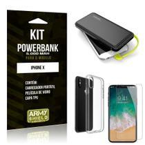 Kit Carregador Portátil 5K iPhone X Powerbank 5000mah + Capa + Película de Vidro - Armyshield -