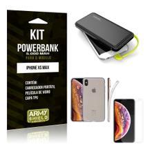 Kit Carregador Portátil 5K iPhone XS Max Powerbank 5000mah + Capa + Película de Vidro - Armyshield -
