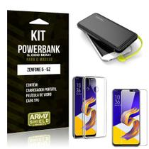 Kit Carregador Portátil 5K Tipo C Zenfone 5/5z Powerbank + Capa + Película de Vidro - Armyshield -