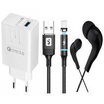 Kit Carregador Rápido + Cabo Magnético + Fone para Celular I Phone I7, 17 Plus - Sumexr