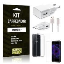 Kit Carregador  Samsung Galaxy S8 Plus Película de Vidro + Tpu + Carregador  - Armyshield -