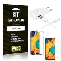 Kit Carregador Tipo C Galaxy A20 Carregador + Capinha Anti Impacto + Película de Vidro - Armyshield -