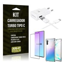 Kit Carregador Turbo C Samsung Note 10 + Película cobre a Tela Toda + Capa Antishock - Armyshield -