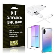 Kit Carregador Turbo C Samsung Note 10 Plus + Película cobre Tela Toda + Capa Antishock - Armyshield -